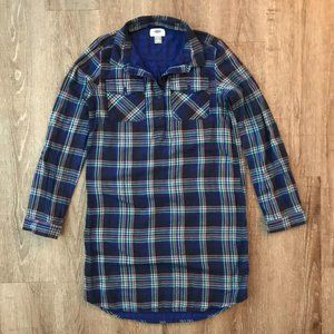 Old Navy Kid's Plaid Flannel Shirt Dress Tunic XL
